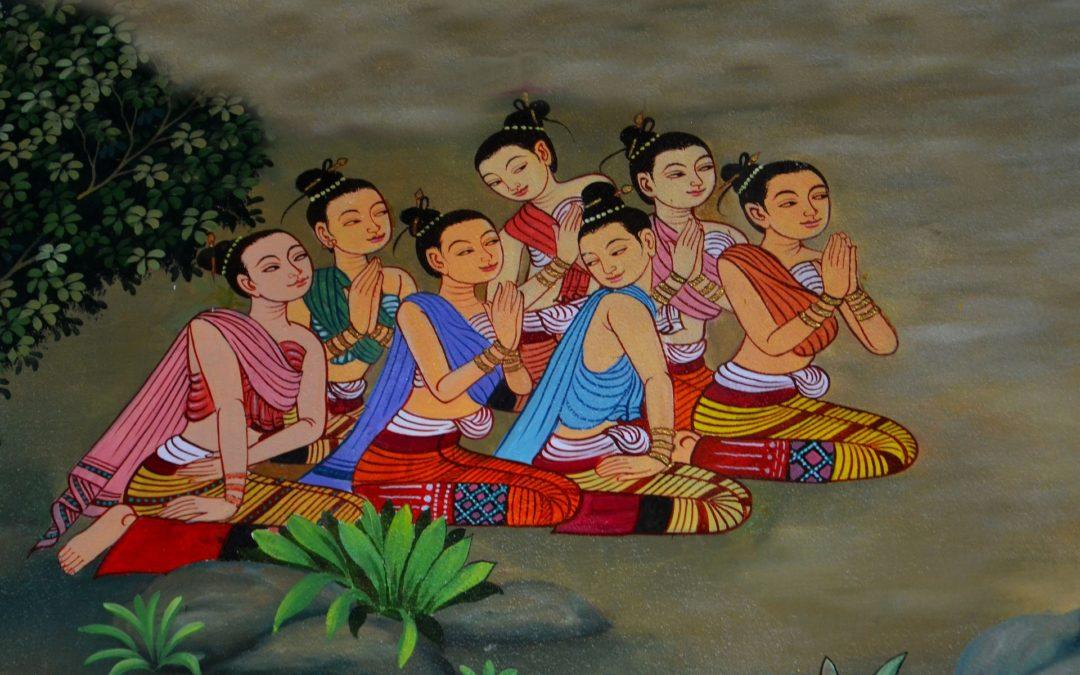 grupo de mujeres meditando